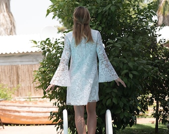 Bell Sleeves Hippie BOHEMIAN Wedding Dress Vintage Lace Wedding dress Handmade Boho Wedding Dress Sz S/M