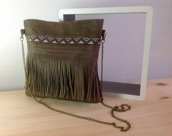 Taupe suede shoulder bag with fringe