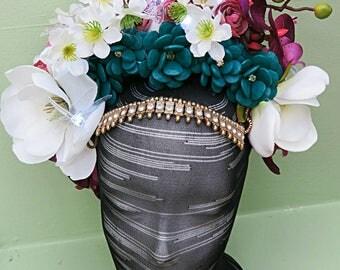 Flower crown headpiece headdress with LED lights