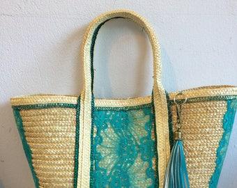 Bohemian style green straw basket