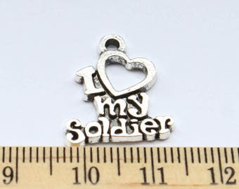 5 I Love My Soldier Charms - Antique Silver - ef0163
