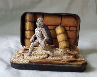 Miniature Mummy Diorama in Tin