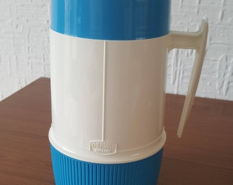 1980s Vintage Thermos soup/hot drinks flask in blue and white