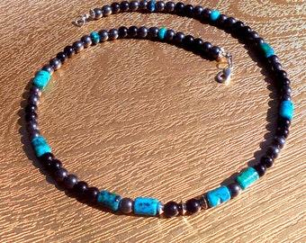 Collier Homme Pierre Turquoise, Onyx,hématite noir, perles tube argent,collier unisex mala surfer, gemmes guerison, Cadeau Homme