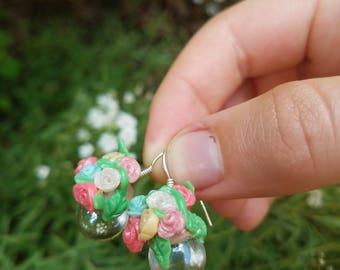 Flower glass bulb earings