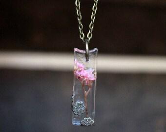 Pink Flower Embellished Pendant