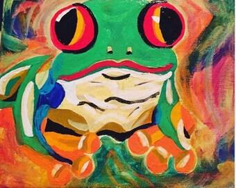 Happy Frog Painting 8x10