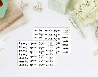 GYM & WORKOUT // Functional Planner Stickers // Word Planner Stickers // Script