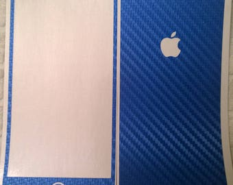 Apple iPhone 8 Plus Blue Carbon Fiber Skin Wrap - Dillowraps Premium