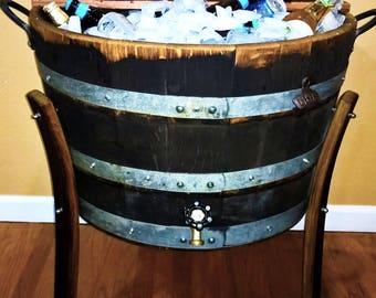 WINE BARREL Ice CHEST 30 Gallon Rustic Furniture Home Decor Patio Bar Bistro