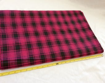 """2 yards, 100 % cotton material. magenta and black plaid. rustic woven fabric. 44"""" wide"""
