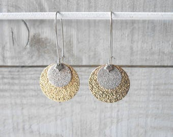 Silver Earring, silver and gold glittery sequin