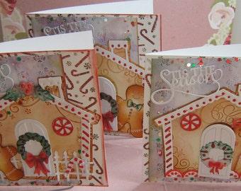 3 Handmade  Christmas,Gingerbread House  Cards