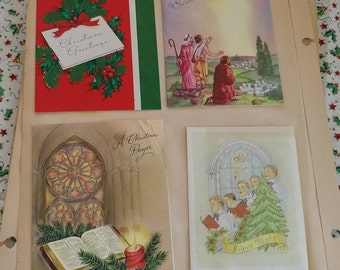 Vintage Christmas 9 Greeting Cards 1940-60s Junk Journal Collage Art Journal DIY Cardmaking Mixed Media Scrapbooking