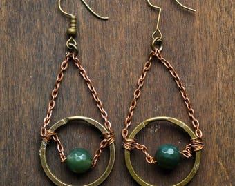 brass earrings , bohemian earrings , tribal earrings , ethnic earrings , hoop earrings