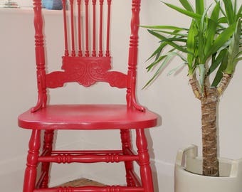 Solid Pine Hand Carved Occasional Chair