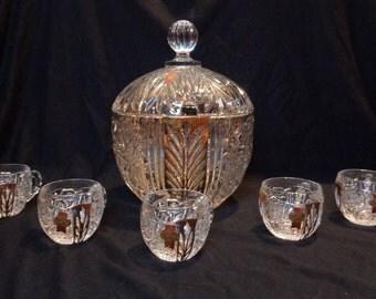 Vintage ANNA HUTTE BLEIKRISTALL Punch Bowl Set 24% Fine Lead Crystal - Excellent!