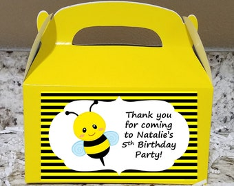 Sale! 12 Bumble Bee Treat Boxes, Bumble Bee Gable Boxes, Bumble Bee Candy Boxes, Bumble Bee Party Boxes