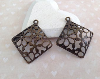 2 pendants diamond color bronze 38 x 34 mm