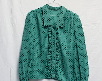 Vintage green shirt with black polka dots