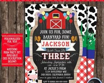 Farm Birthday Invitation, Personalized Farm Party Invitations, Farm Party Supplies, Barnyard Party,Farm Party Printable,Barnyard Invitation