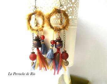 Earrings ethnic Bohemian earrings hippie-tribal earrings - jewelry talisman earrings rustic