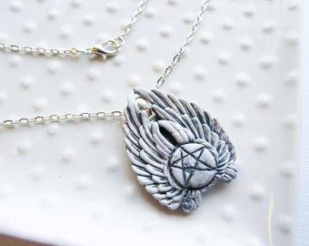 White Winged Angel Necklace - White Wing pentacle - Occult Symbolism - Gothic style Necklace - Metal Base and polymer Clay - Hand painted -