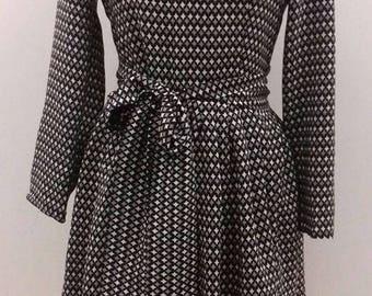 pleated printed silk dress size 36