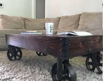 Reclaimed Factory Cart Coffee Table with Casters