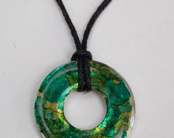 Jungle Green Alcohol Ink Washer Necklace