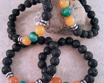 Gemstone bracelet with lava beads, agate beads and stainless steel
