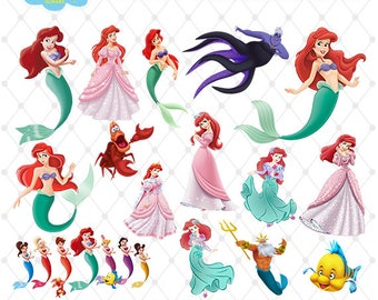 Little Mermaid Clipart, PNG Clip Art Files, Little Mermaid Printable Images, Digital Download, Scrapbook, Transparent Background, Blue-019