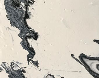 "m o t l e y - 10"" x 20"" Abstract Fluid Art"