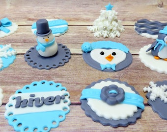 Winter Wonderland cupcake toppers