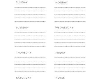 A4/Weekly Planner/Weekly Schedule/Weekly Scheduler/Weekly Planner Printable/Weekly Schedule/Printable Planner/Planner Inserts