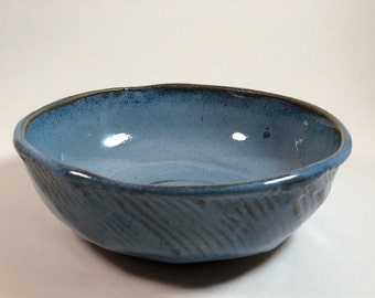 Handmade Pottery Bowl | Blue Pottery Bowl, Rustic Bowl, Handmade Ceramic Bowl, Cereal Bowl, Noodle Bowl, Earthy Pottery Bowl, Carved Bowl