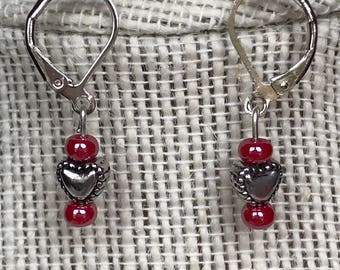 Silver Heart Earrings with Red Bead Accents
