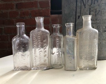 Antique apothecary bottles lot - clear