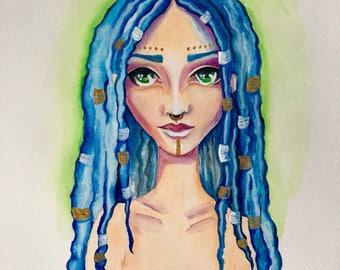 Boho Girl 9 x 12 Watercolor Painting