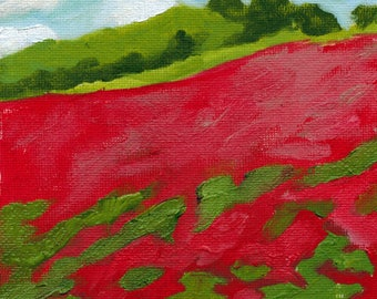 Poppy Field 5x7 Original Oil Painting