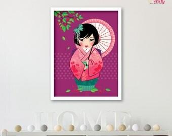 Deco purple kawaii Kokeshi girl poster
