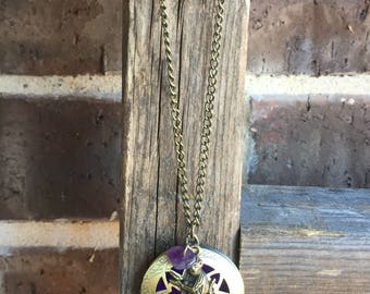 Antique Bronze Essential Oil Diffuser Necklace with Monkey and Amethyst