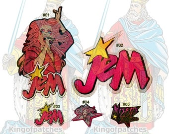Jem & The Holograms Embroidered Big or Small Patches Cartoon Tv Misfits Jerrica Benton Rock Star Synergy Pizzazz Kimber Truly Outrageous