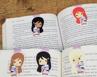 To Be Reading Stack Girl - Bookish Magnetic Bookmark