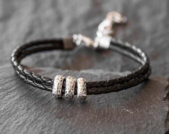Men's Leather Bracelet - Men's Beaded Bracelet - Men's Cuff Bracelet - Men's Bracelet - Men's Jewelry - Men Gift - Husband Gift - Boyfriend