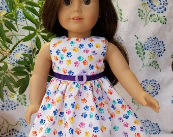 """Dog Paw Print Dress for American Girl and 18"""" Dolls"""