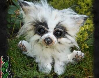 """Poseable Art Doll """"White Little Puppy"""" (HANDMADE / OOAK)"""