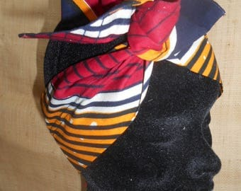 African turban, hard headband for girl and woman, Navy and red wax