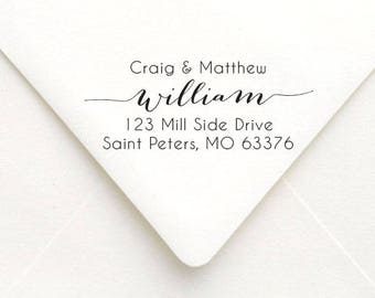 Custom Calligraphy Family Address Stamp,  Custom Family Address Stamp, Self Inking Stamp or Rubber Stamp
