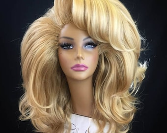 BUXOM - Large Styled Wig for Drag Queens, Theater, Burlesque in Golden Honey Blonde with optional Swoop Bang